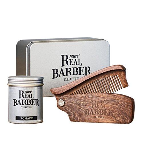 Geschenke Set der Fitters Real Barber Collection: Pomade, 100 ml mit handgefertigtem Bartkamm aus edlem Holz des Santalum-Baumes