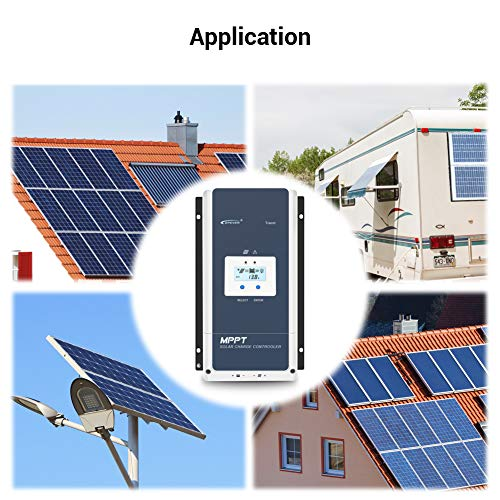 EPEVER 100A MPPT Solar Charge Controller 12V/24V/36V/48V Auto Max 150V Input Negative Ground Solar Panel Charge Regulator with MT50 Remote Meter Temperature Sensor RTS & PC Communication Cable RS485
