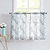 White Kitchen Curtains Windows Tree Branch Print Semi-Sheer Tiers for Bathroom Small Café Curtain Set, Grey/Blue 24' Length, 2 Panels