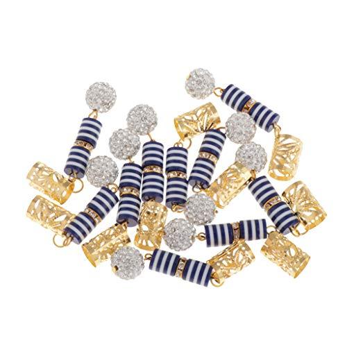 MagiDeal 10 Pcs/Set Dreadlocks Perles Clip Pendentif Bricolage Cheveux Tresses Embellissements - Bleu