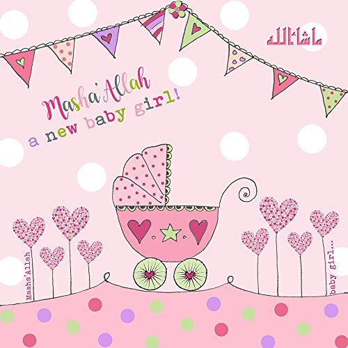 Islamische Baby Girl Karte, Masha Allah eine neue Baby Mädchen, rosa Kinderwagen und Wimpelkette