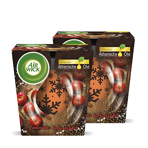 Air Wick Wohlfühl-Duftkerze – Duft: Zimtzauber & Bratapfel – Enthält natürliche ätherische Öle – 2 x Duftkerze