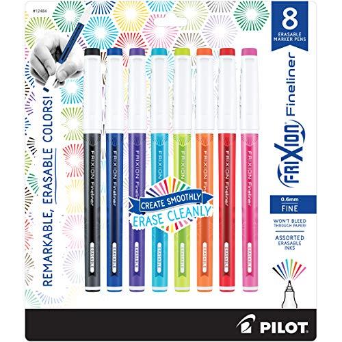 PILOT FriXion Fineliner Erasable Marker Pens, Fine Point, Assorted Color Inks, 8-Pack (12484)