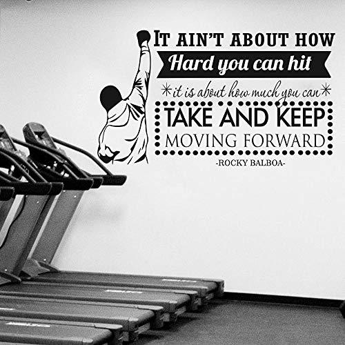 Wfnbzd Moderner Boxspieler Rocky Balboa Zitat Wandaufkleber Fitnessstudio Fitness Sport Boxen Inspirierend Motivierend Zitat Wandtattoo Vinyl 98 * 56cm