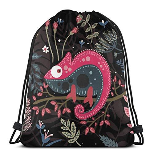 OPLKJ caméléon rose et les fleurs sac à dos à cordon sac de sport léger voyage Yoga Casual Snackpack sac à bandoulière pour randonnée plage de natation