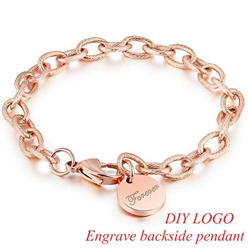 IFABIT DIY gepersonaliseerde kettingschakel roestvrij staal armbanden voor vrouwen roségoud brief voor altijd hanger paar armbanden