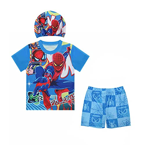 MYYLY Avenger Garçon Maillot De Bain Spiderman Super Héros en Plein Air Vacances 3 Pièces avec Chapeau Short Dessin Animé,Blue-XS Kids (100~110CM)