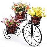 Soporte Creativo Para Plantas De Bicicletas, Estante De Hierro Para Flores Metal Soportes Para Macetas Estante Exhibición Organizador Macetas, Jardín Decoración De Interiores Y Exteriores,Negro
