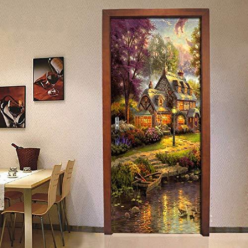 PyUK DIY deur, zelfklevend, olieverfschilderij, huis, papier, foto, PVC, zelfklevend 77x200cm