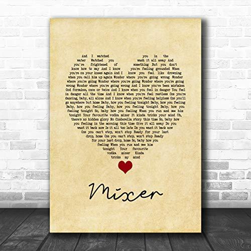 Mixer Vintage Hart Song Lyrische Quote Muziek Poster Print Large A3