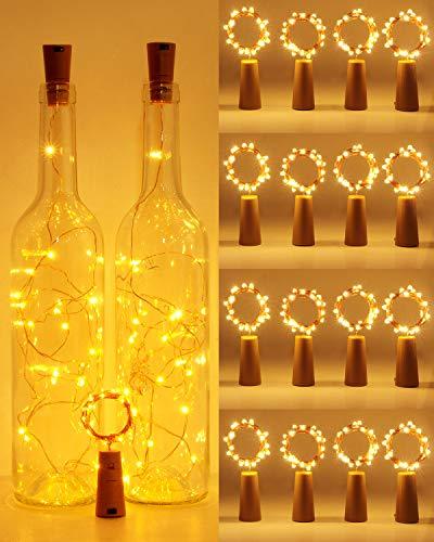 【16 Stück】Flaschenlicht, Hepside Flaschenlichterkette Korken 2M 20LEDs Glas Korken Licht Kupferdraht Lichterkette mit Batterie für Flasche für außen/innen Deko für Party Hochzeit Weihnachten Warmweiß