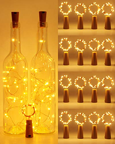 (16 pezzi) Luci per Bottiglie,Hepside Luci per Bottiglie di Vetro,2M 20LED Luci Bottiglia Filo d'argento Led Decorative Stringa Luci da Interni e Esterni per Festa Natalizie Matrimonio(Bianco Caldo)
