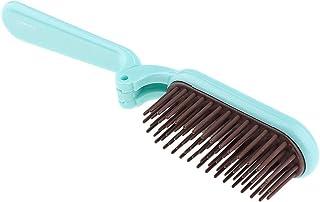 P Prettyia 折りたたみヘアブラシ 静電気防止櫛 耐熱性 コーム 2色選べ - 青