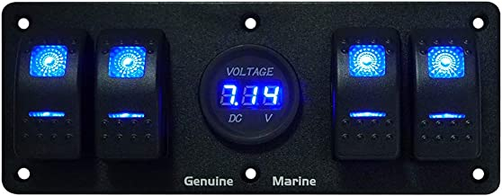 2/3/4/6 Gang Boat 12V Aluminium Rocker Switch Panel - Blue LED Lighted Control Switches, without Fuse, 5V Dual 2.1A USB Charger Socket, Digital Voltmeter for RV Truck Caravan Vehicles Off-Road Camper