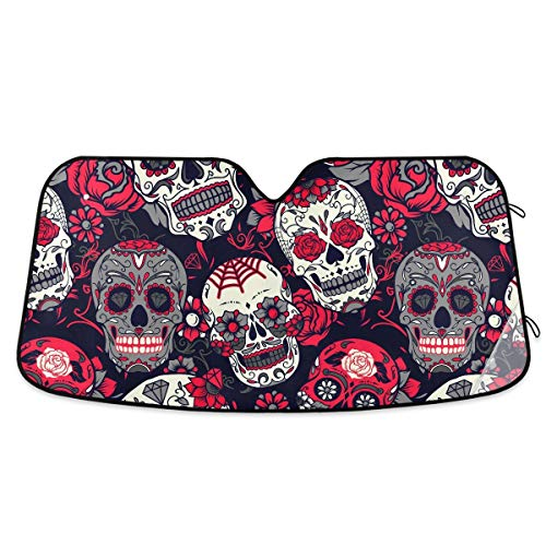 Oreayn Rose Sugar Skull Car Sun Shade for Windshield Foldable Blocks UV Rays Polyester 55x27.6 Inches