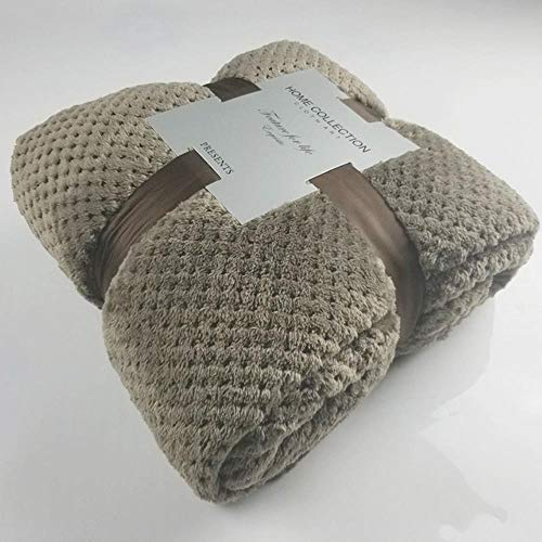 Manta de vellón con peso Mantas de franela para el hogar suave estilo japonés para camas Piel sintética Manta de verano Cubierta de sofá de color liso Mantas de sábana de cama de invierno, marrón, 180x200 cm (70x78 pulgadas)
