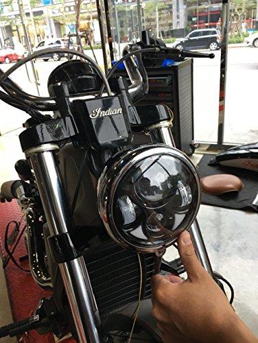 Transauto Phare rond LED pour moto Harley Davidson 14,6 cm avec faisceau haut/bas (Noir)