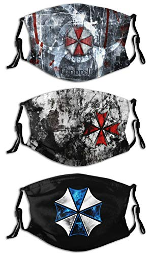 Face Mask winter Balaclava Windproof For Dustproof Mouth Cover 3 PCS with 6 Filter Adjustable Elastic Strap Made In USA Resident Evil :umbrella corporation