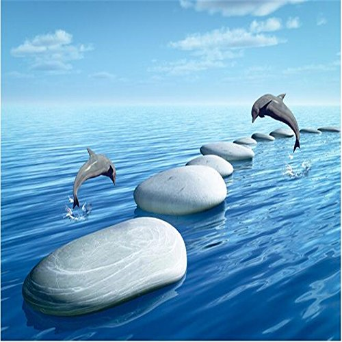 Mznm 3 D Pvc Flooring Custom 3D Bathroom Flooring 3 D Underwater World Pebbles Dolphins To Download 3D Wall Mural Wallpaper-280X200Cm