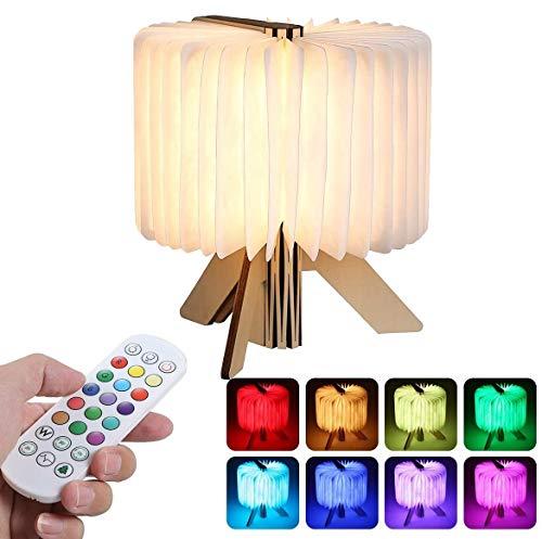 Buchlampe Stimmungslicht in Buch Form 16 Lichtfarben Holzbuch als Geschenk mit Fernbedienung/USB-Kabel, 5 Helligkeitsstufen 1200mAh/360°Faltbar