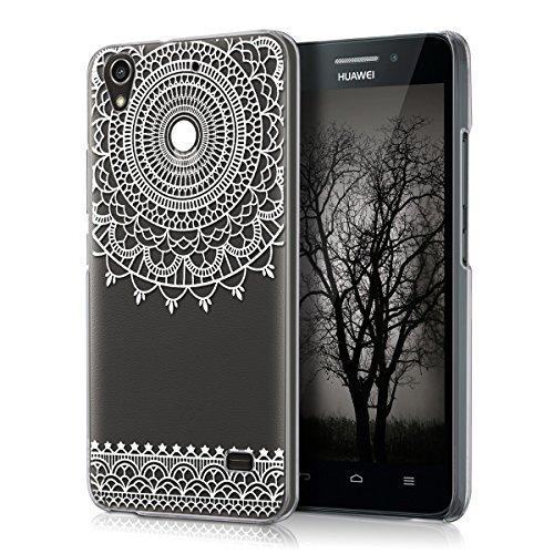 kwmobile Funda Compatible con Huawei Ascend G620s - Carcasa para móvil - Protector Trasero mándala Sencillo Blanco/Transparente