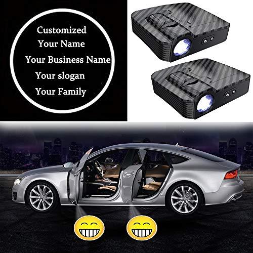 2Stück Kabellos Auto Türlicht Projektor Licht Einstiegsleuchten LED Projektion Kohlefaser Autotür Einstiegsbeleuchtung Projektor, Personalisiert Anpassen