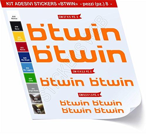 Adesivi Bici BTWIN_Kit 1_ Kit Adesivi Stickers 08 Pezzi -Scegli SUBITO Colore- Bike Cycle pegatina cod.0479 (Arancione cod. 035)