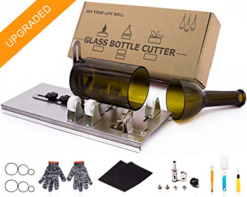 Stained Glass Cutting Tool Kit Glass Wine Jar Etching for DIY Glassware Vases Glass Bottle Cutter Lamps Candle Holders for Larger Longer Bottle and Jar with 5pcs Sandpaper
