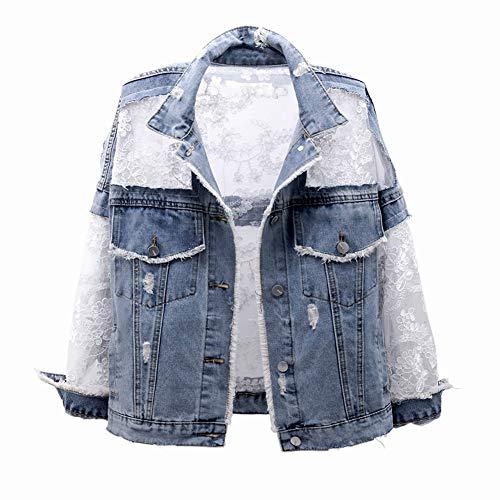 CYSTYLE Damen Spitze Jeansjacke Übergangsjacke Kurz Jacke Denim Casual in klassischer Form mit Blumen Stickerei Design (Blau, XS)