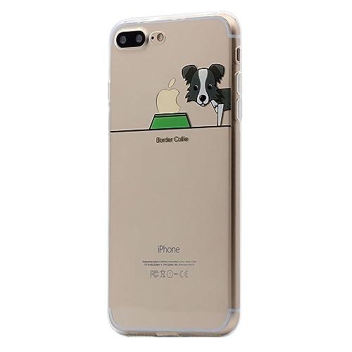 Keyihan iPhone 8 Plus / 7 Plus Funda Carcasa Perro Lindo patrón Suave TPU Silicona Transparente