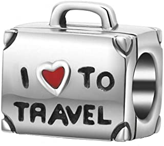 ABUN I Love to Travel Charm Solid 925 Sterling Silver Suitcase Charm with Red Enamel Heart for Bracelet