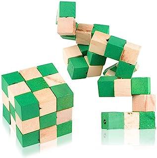ArtCreativity Wooden Magic Cube Puzzle, Set of 2, Colorful Mind Games, Stretch, Twist, and Lock Brain Teaser Fidget Sensor...