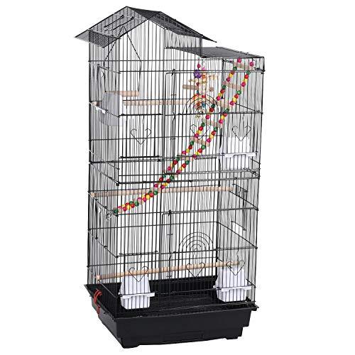 Yaheetech Vogelvoliere für Kanarien Finken, Wellensittichkäfig schwarz, Vogelkäfig 46 x 35,5 x 99 cm, Vogelhaus mit Spielzeug Klettern
