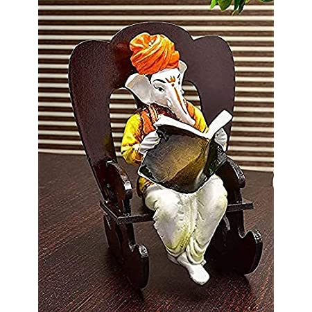SN Handicrafts Polyresin Ganesha Resting Ganpati Sitting On Chair Idol, 21.21 cm x 15.8 cm x 13.21 cm, White, 1 Piece