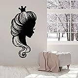 Princesa pared calcomanía cara contorno corona vinilo pegatina peluquería niña guardería...