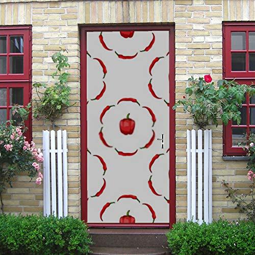 ZANSENG Moderne Kunst 3D Türaufkleber, Nahtlose Muster runde Rahmen rote Paprika schälen und kleben abnehmbare Vinyl Tür Aufkleber für Wohnkultur, 30,3