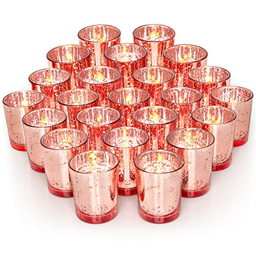 Volens Rose Gold Party Decorations 72pcs, Mercury Glass Votive Candle Holders Set for Wedding, Bridal and Baby Shower