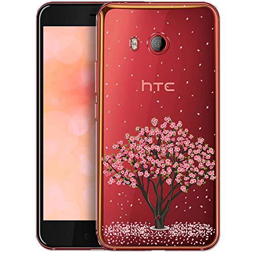 OOH!COLOR Schutzhülle Kompatibel mit HTC U11 Hülle Silikon Case Handy Tasche transparent Bumper mit Coolen Aufdruck Motiv Kirschbaum (EINWEG)