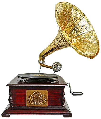 aubaho Grammophon Gramophone Dekoration Trichter Grammofon Messing Emblem Antik-Stil