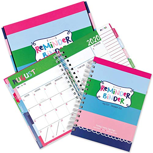 """Reminder Binder 2020-2021 18-Month Planner w/ 361 Stickers Weekly & Monthly Views, 6.5""""x8.5"""", Hard Cover, Elastic Closure, Planner Stickers, to-Do Lists, Pockets, Tab Dividers"""