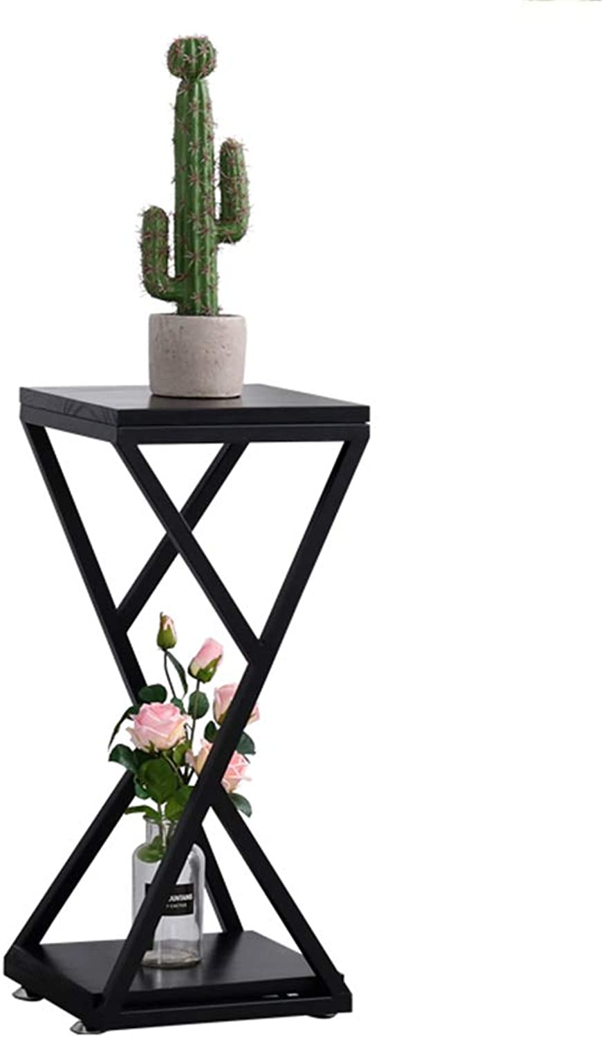 LYXPUZI Nordic Small Coffee Table Flower Rack Corner Sofa Side Table Mini Table Side Table Sofa Cabinet (color   Black, Size   30  30  51cm)
