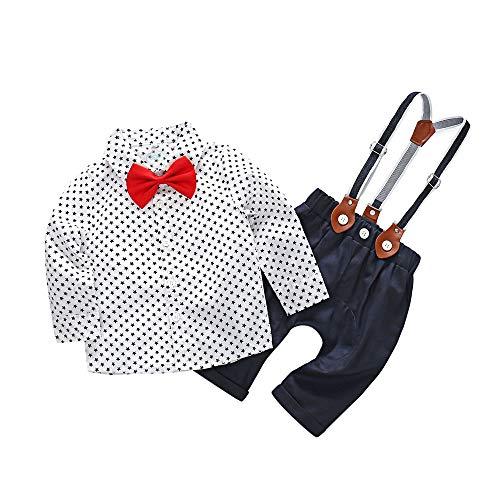 Infantil Recién Nacido Bebé niños Estrellas Camisetas de Caballero Tops Camisas y Tirantes Pantalones Conjunto de Trajes 2018