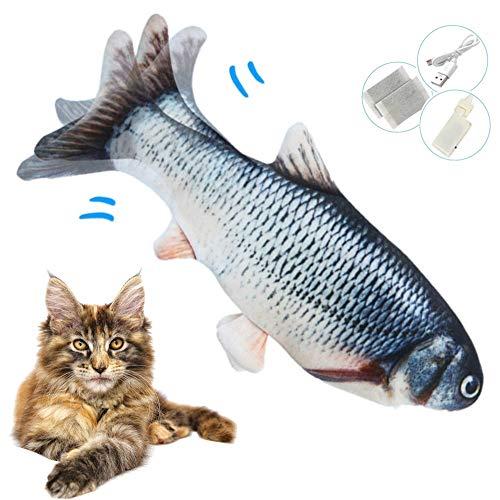 Zibnwee Elektrisch Spielzeug Fisch, Katzenminze elektrische Fisch, USB Katze Spielzeug Fisch mit Katzenminze für Katze und Kätzchen, Interaktive Katzenspielzeug zu Spielen, Beißen, Kauen und Treten