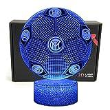 Deal Best forma di calcio 3d illusione ottica smart 7 colori led luce di notte lampada da tavolo con cavo di alimentazione usb internazionale milano