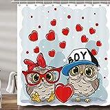 DYNH Valentinstag-Deko-Duschvorhang, niedliche Eule, romantische Liebe, rote Herzform, Upgrade, Polyester-Stoff, Badezimmer-Accessoires, mit 12 Haken, 177,9 x 177,8 cm