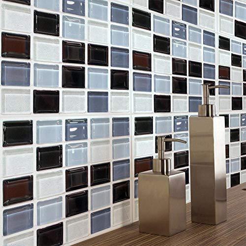whmyz 6 unids/Lote Impermeable Autoadhesivo 3D imitación Azulejos Pegatinas PVC Mosaico patrón Pared Pegatina Cocina hogar Decoración-20x20cm