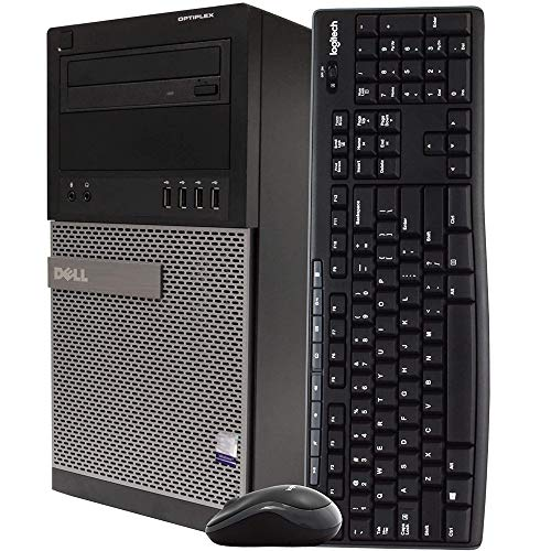 Dell Gaming Desktop Computer Tower PC, Intel Quad Core i5 3.2GHz, 16GB RAM, 128GB SSD + 500GB Hard Drive, Windows 10 Home, Nvidia GT1030 Graphics Card, Wireless Keyboard & Mouse, HDMI, Wi-Fi (Renewed)