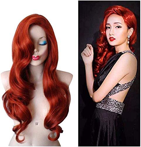 FVCENT Lange lockige Rote Jessica Rabbit Frauen Perücke Ariel Kostüm für Karneval