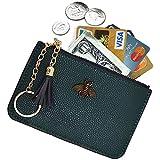 AnnabelZ Women's Coin Purse Change Wallet Pouch Leather Card Holder with Key Chain Tassel Zip (Dark Green)