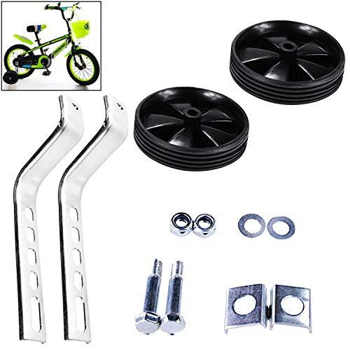 1 Paar Stützräder Kinderfahrrad, Universal-Stützräder 12-20 Zoll Stützrad Kinderrad Fahrrad, zur Montage auf der Fahrrad Hinterradachse geeignet, stabile Stahlkonstruktion mit Gummi-Reifen (Schwarz)